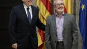 El secretarario general del PSPV, Ximo Puig, y el secretario autonómico de Podemos, Antonio Montiel