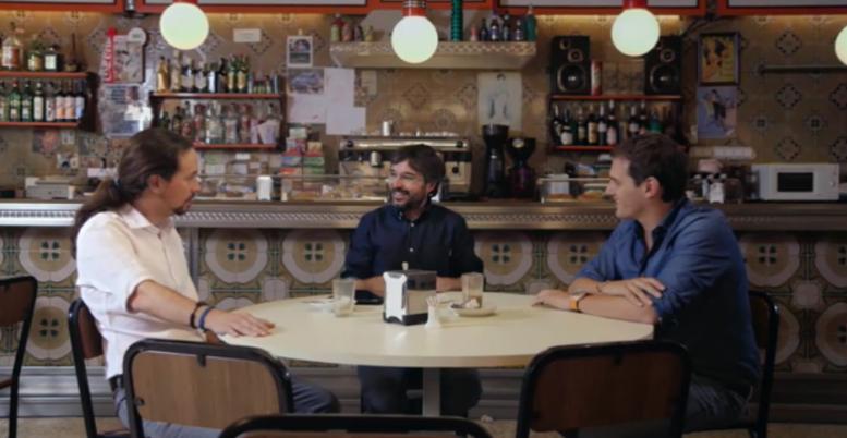 Instantánea del debate entre Albert y Pablo con Jordi Evole de presentador
