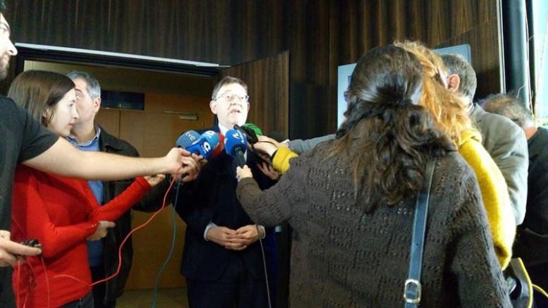 Ximo Puig en declaraciones a los medios de comunicación