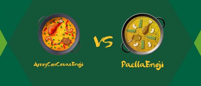 Los dos diseños de la paella como emoji
