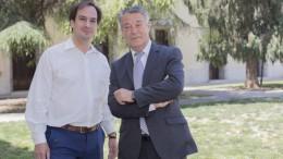 El secretario general de Som Valencians, Jaume Hurtada y Joan Ignaci Culla, presidente del partido