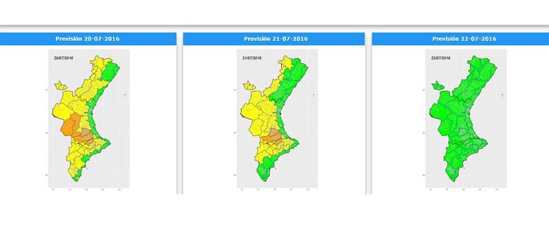 Mapa con el nivel de alerta por altas temperaturas