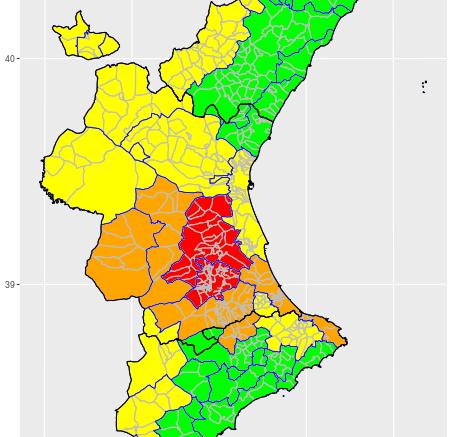 Mapa con los niveles de alerta por altas temperaturas