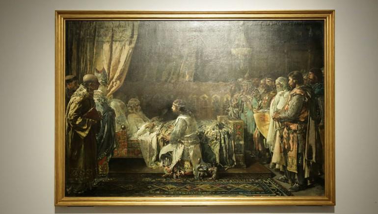 Pinazo. Cuadro nunca visto en Valencia. Últimos momentos del rey Jaime el Conquistador en el acto de entregar su espada a su hijo Pedro