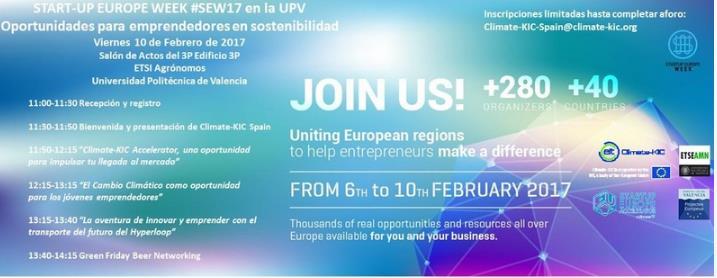Oportunidades para emprendedores en SOSTENIBILIDAD. UPV 10 de febrero. Semana europea de los emprendedores #SEW17