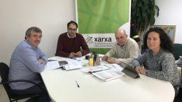 El diputado Josep Bort con Pep Galarza y Raquel Gómez durante el transcurso de la reunión en Masamagrell