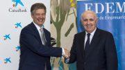 El director territorial de CaixaBank en la Comunitat Valenciana, Xicu Costa, y el director general de EDEM, Antonio Noblejas