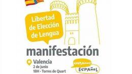 Manifestación por la Libertad de Elección de Lengua en Valencia el 2 de junio