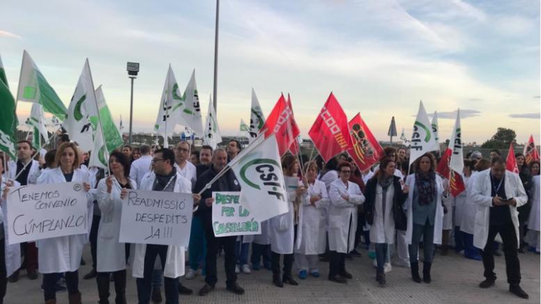 Apoyo a la concentración masiva en La Ribera por los incumplimientos de Sanidad tras la reversión