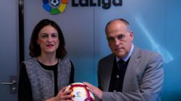 Elena Tejedor Directora de la FTA y Javier Tebas, presidente de LaLiga