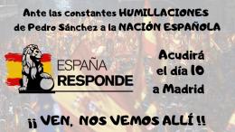 ESPAÑA RESPONDE como movimiento cívico, ha decidido estar presente en la manifestación del 10 de febrero en la plaza de Colon de Madrid.